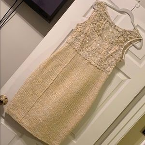 Kay Unger Yellow Lace & Tweed Dress